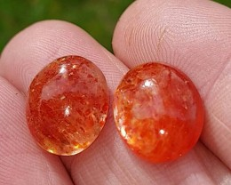 12.5 by 11mm pair SUNSTONE cabochon red orange 12.5 by 11 by 5mm 9.8ct rain