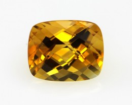 4.96cts Golden Yellow Citrine Cushion Checker Board Shape