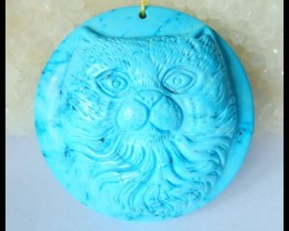Natural Howlite Carving Cat Head Pendant Bead,43x12mm,145.5ct(17041211)