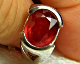 Sterling Silver, Ruby Ring - Superb