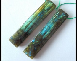 Natural Labradorite Earrings,44x10x5mm,51ct(17041507)