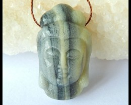 Natural Amazonite Carving Buddha Head Necklace Pendant,29x17x10mm,38ct(1704