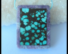 Natural Turquoise,Pink Tourmaline,Obsidian Intarsia Pendant,34x26x6mm,65.5c
