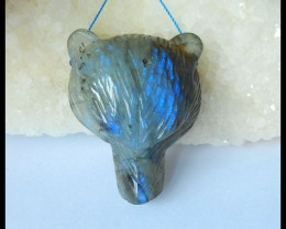 Natural Blue Labradorite Carving Bear Head Pendant Bead,41x32x13mm,104ct(17