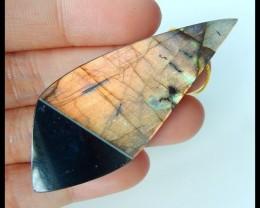Natural Labradorite,Obsidian Intarsia Pendant,58x24x6mm,71ct(17041803)