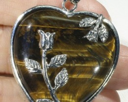 80cts Tigers eyes heart pendant PPP1205