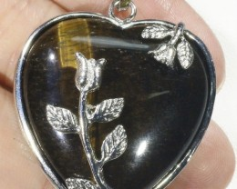 80cts Tigers eyes heart pendant PPP1206