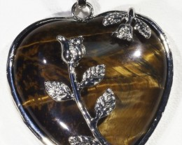 80cts Tigers eyes heart pendant PPP1207