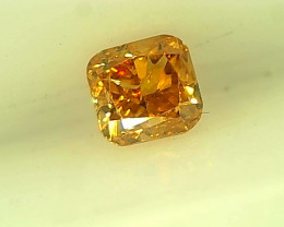 0.16cts Fancy Vivid Orange Diamond , 100% Natural Untreated