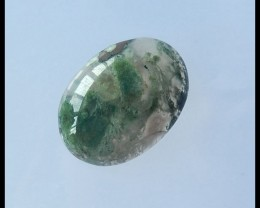 Natural Moss Agate Oval Cabochon,40x29x10mm,82.5ct(17042001)