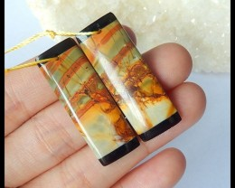 Natural Moss Agate Oval Cabochon,35x28x8mm,57ct(17042004)