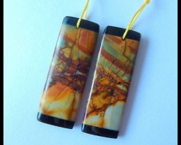 Natural Muti Color Picasso Jasper,Obsidian Intarsia Earrings,36x13x4mm,38ct