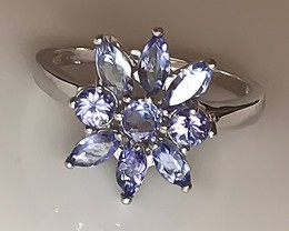 STUNNING TANZANITE STERLING SILVER RING  NO RESERVE!