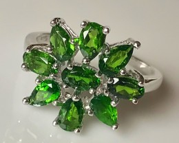 FINE CHROME DIOPSIDE STERLING SILVER RING SIZE 7.0