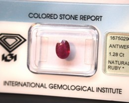 IGI Certified - 1.28Cts - Burma(Rare) - Natural Ruby
