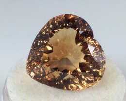 24 ct Topaz - Fancy Heart Cut Orangish Brown