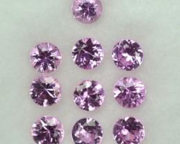 1.08 Cts Natural Pink Sapphire Round 10 Pcs  Srilanka