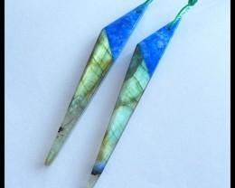 Natural Labradorite,Lapis Lazuli Intarsia Earrings,56x8x5mm,29.5ct(17042312