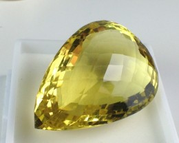 58.08 ct Citrine - Fancy Pear Checkerboard Cut Lemon Yellow