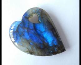 Natural Blue Labradorite Heart Pendant,46x38x10mm,127.5ct(17042407)