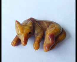 Natural Mookite Handcarved Fox Animal Pendant,40x27x11mm,68.5ct(17042413)