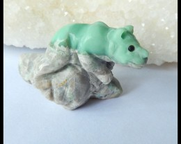 Natural Turquoise Carving Animal Cabochon,36x28x16mm,78.5ct(17042416)