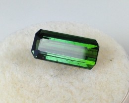 2.23 ct Bi-Color Tourmaline - Octagon Cut Indicolite and Green