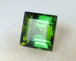 4.25 ct Bi-Color Tourmaline - Square Cut Green and Olive Green