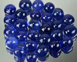 21.03 Cts GENTLE HEAT Blue Sapphire 5 mm Round  Cabochon 27 Pcs