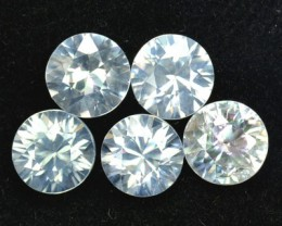 5.08 Cts Natural White Zircon 6 mm Round Diamond Cut 5 Pcs Parcel