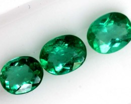 1.06 CTS CERTIFIED  EMERALD FACETED PARCEL 3PC TBM-1100