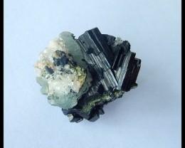 Natural Nugget Babingtonite With Quartz  Cabochon,Semiprecious Stone Specim