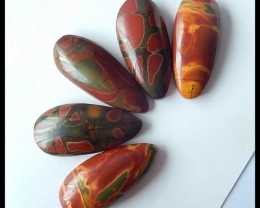 Natural Muti Color Picasso Jasper Cabochon Set,33x14x7mm,31x14x7mm,119.5ct(