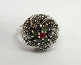 925 Sterling Silver Ring With Beautiful Nautral Stone Ruby,Emerald & Sa