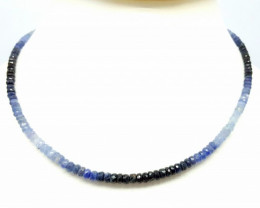 92.65 Crt Natural Multi-Sapphire  Faceted Round Beads Necklace 17 inch
