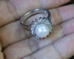 Ring Size 8 Natural fresh water Pearl Ring   PPP 1252