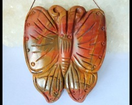 Natural Muti Color Picasso Jasper Butterfly Handicraft Pendant Bead,49x40x1