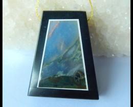 Natural Ocean Jasper ,Obsidian Intarsia Pendant,39x32x6mm,75.5ct(17042708)