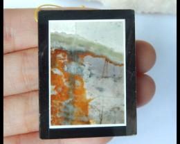 Natural Picasso Jasper,Obsidian Intarsia Pendant Bead,41x31x7mm,107.5ct(170