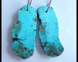 Natural Nugget Turquoise Earring Beads,41x18x3mm,45ct(17042803)