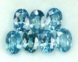 5.74 Cts Natural Blue Zircon Oval Cut 7 Pcs Parcel