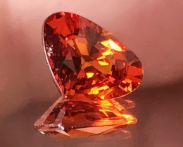 1.19ct Hot Orange Spessartite Garnet Heart Cut VVS