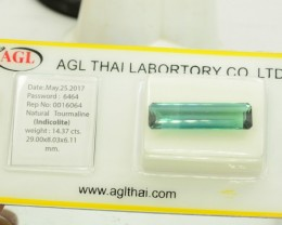 AGL Certified 14.37 ct Untreated Natural Indicolite Tourmaline from Afghani
