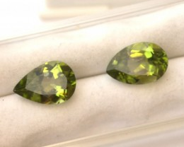 6.11 Carat Fine Matched Pair of Peridot Pears