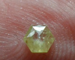 0.13ct 3.4mm yellow Hexagon rose cut Diamond