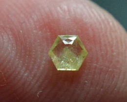 3.55mm 0.175ct Yellow Hexagon rose cut Diamond