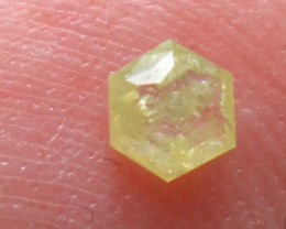 3.45mm 0.10ct Yellow Hexagon rose cut Diamond