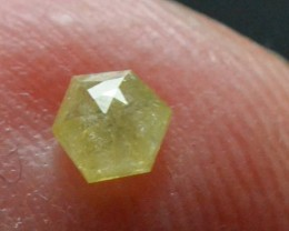 3.525mm 0.20ct Yellow Hexagon rose cut Diamond
