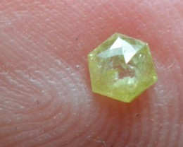 3.5mm 0.14ct Yellow Hexagon rose cut Diamond