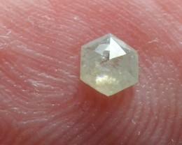 0.14ct 3.5mm  silver Grey Hexagon rose cut Diamond